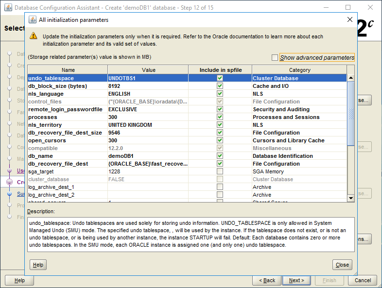 domalab.com create oracle database initialization parameters
