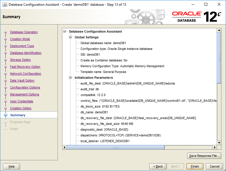 domalab.com create oracle database summary