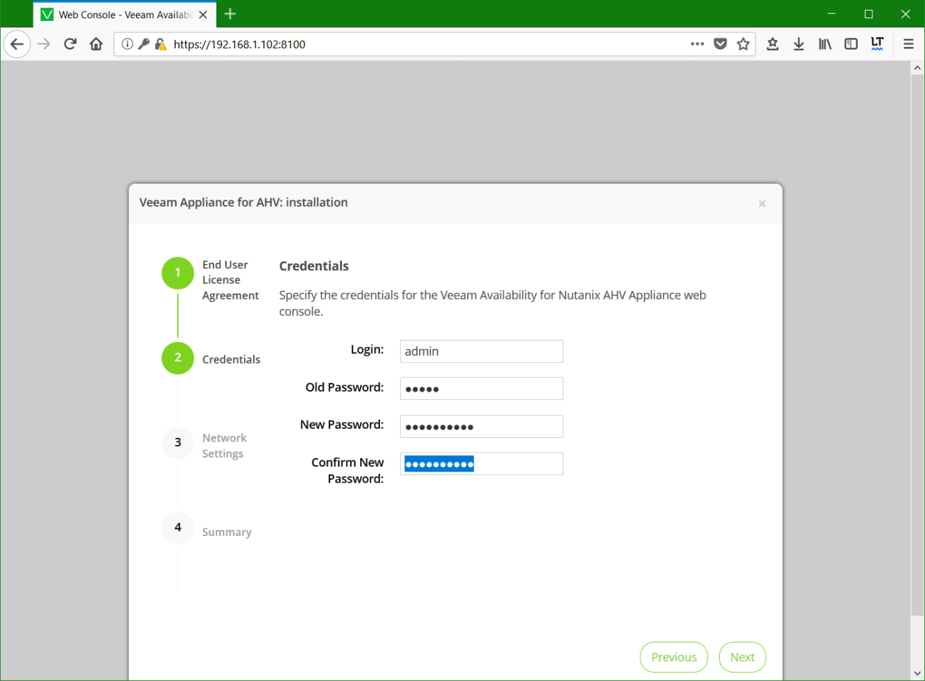 domalab.com Install Veeam VAN appliance credentials