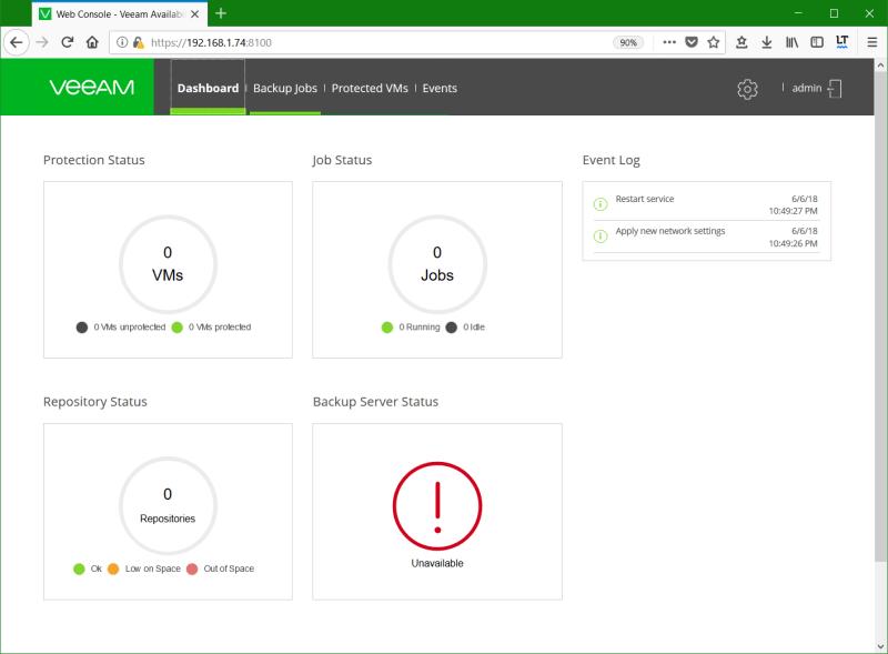 domalab.com Install Veeam VAN appliance dashboard