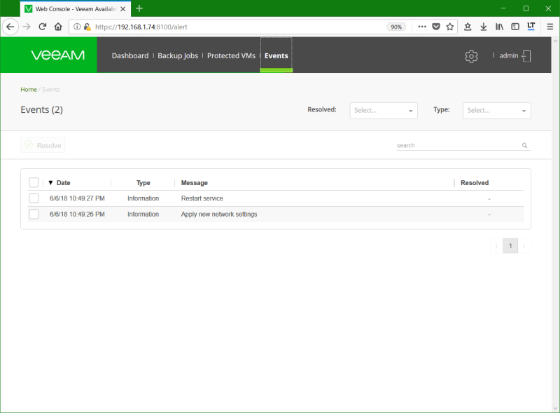 domalab.com Install Veeam VAN events