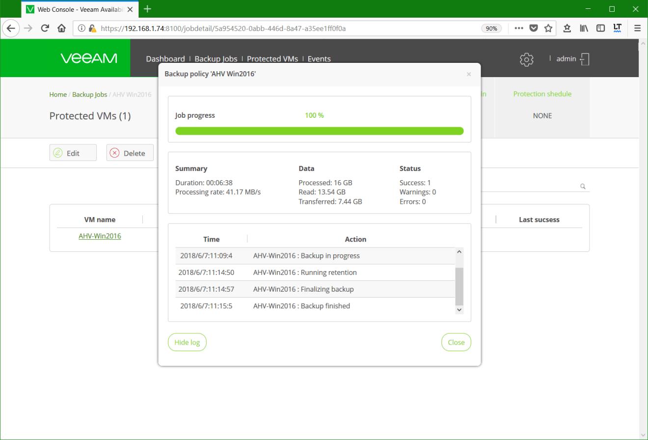 domalab.com Backup Nutanix job complete