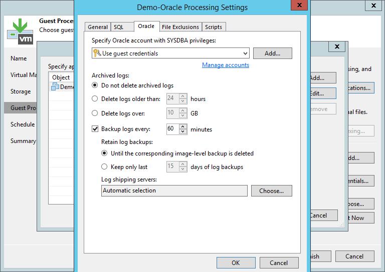 domalab.com Veeam Backup Oracle Database configuration