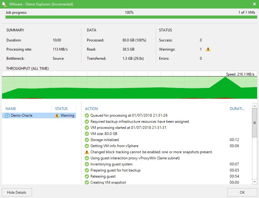 domalab.com Veeam Backup Oracle Database job progress