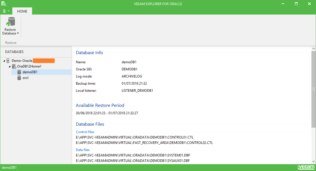 domalab.com Restore Oracle veeam explorer