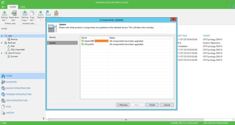 domalab.com Veeam Backup upgrade complete