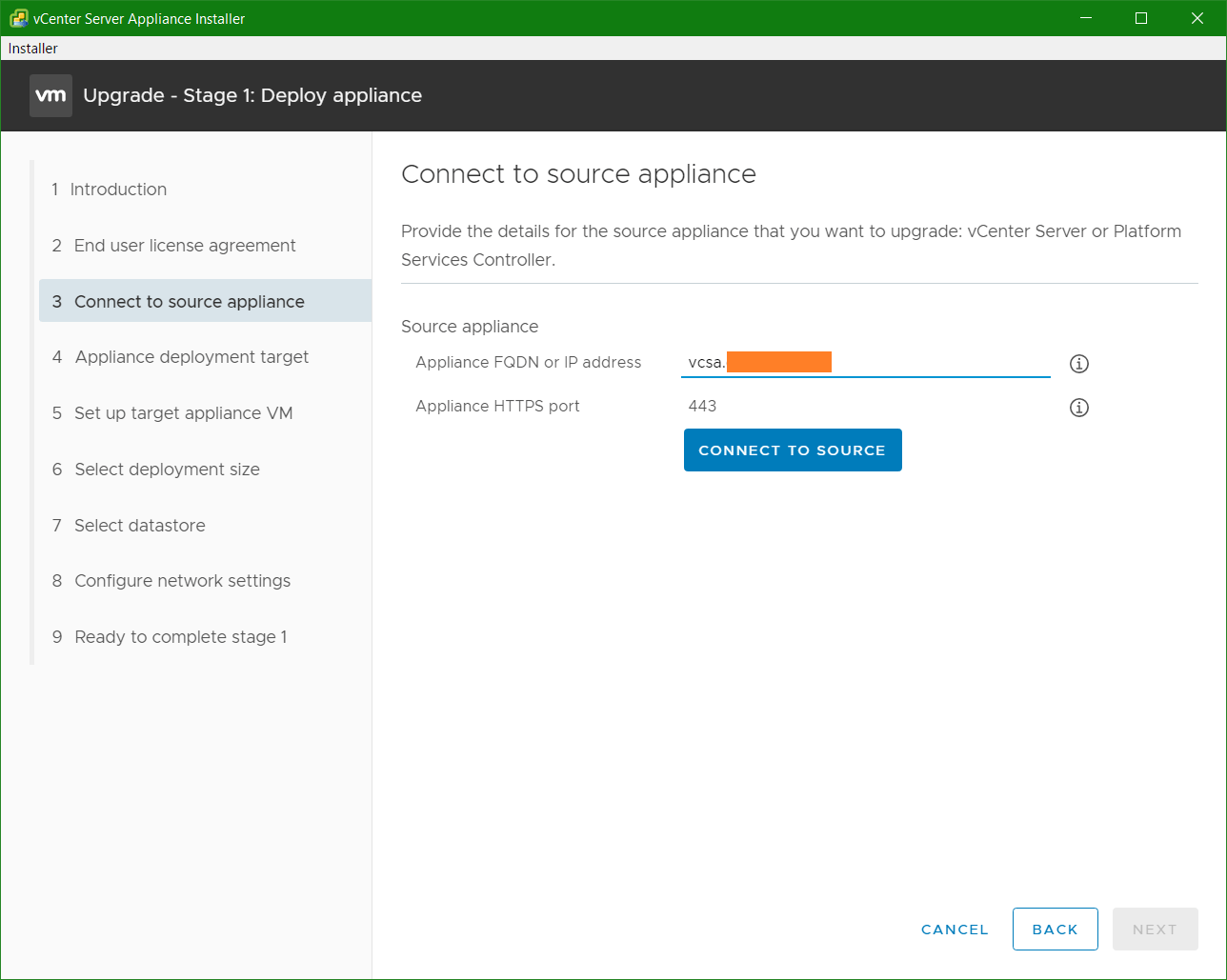 domalab.com VCSA upgrade stage 1 connect to appliance