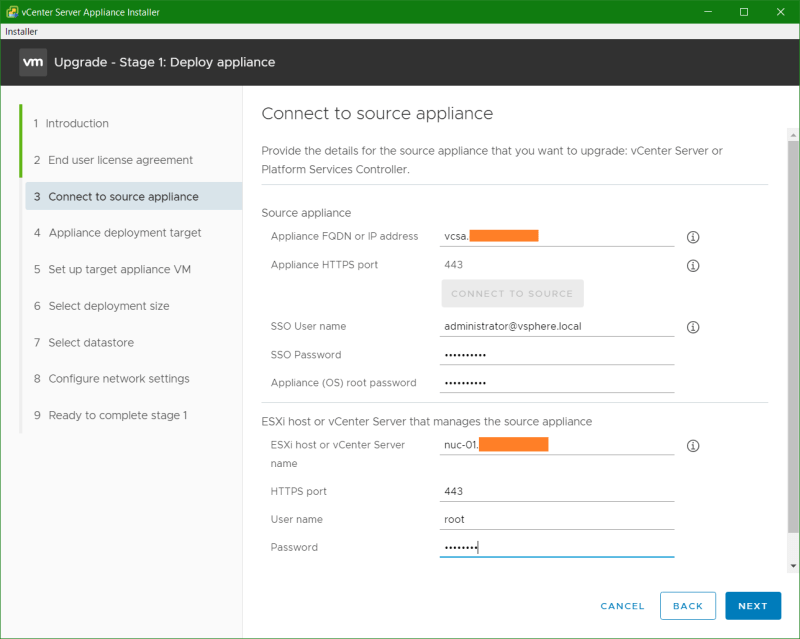 domalab.com VCSA upgrade stage 1 connect to source