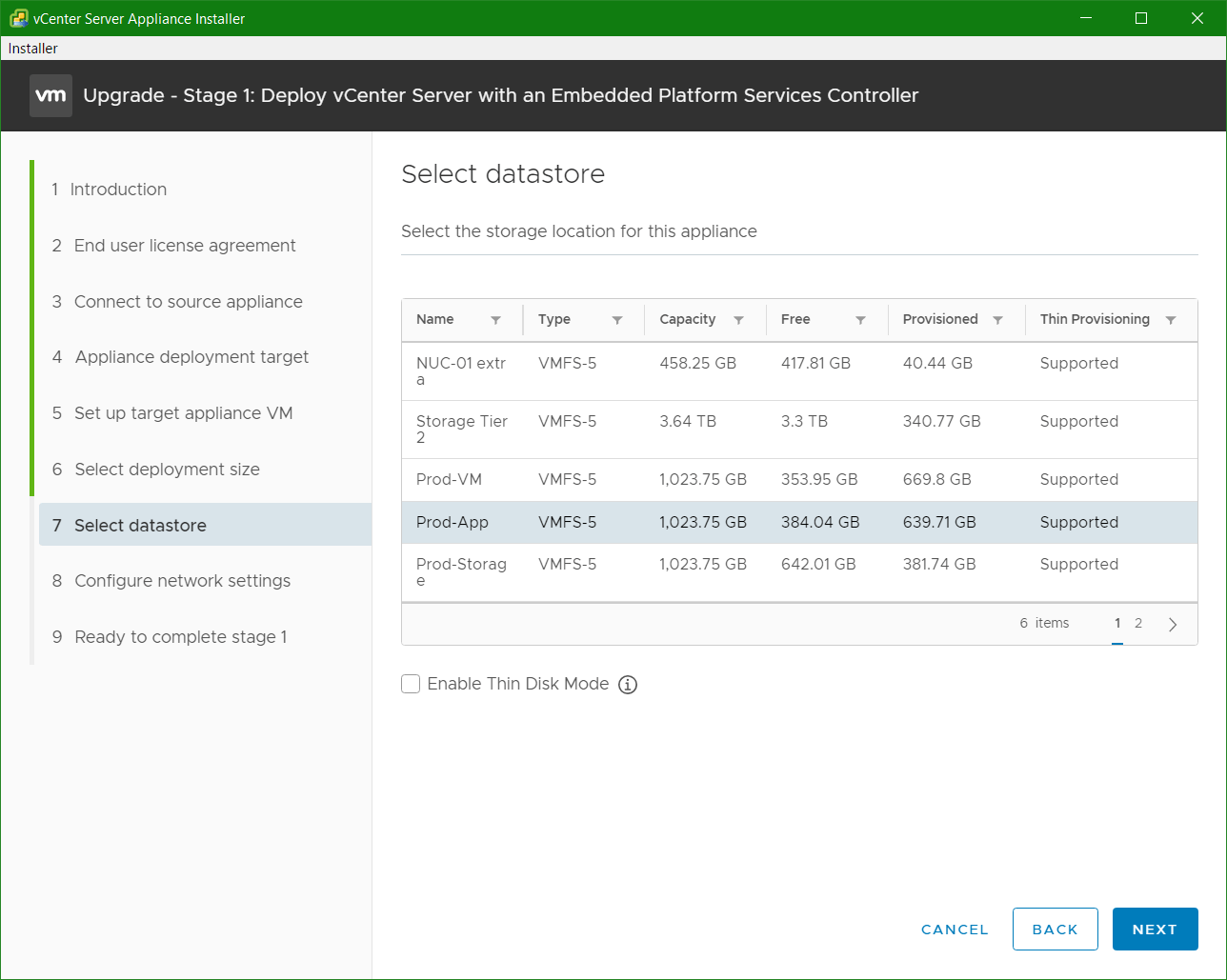 domalab.com VCSA upgrade stage 1 select datastore