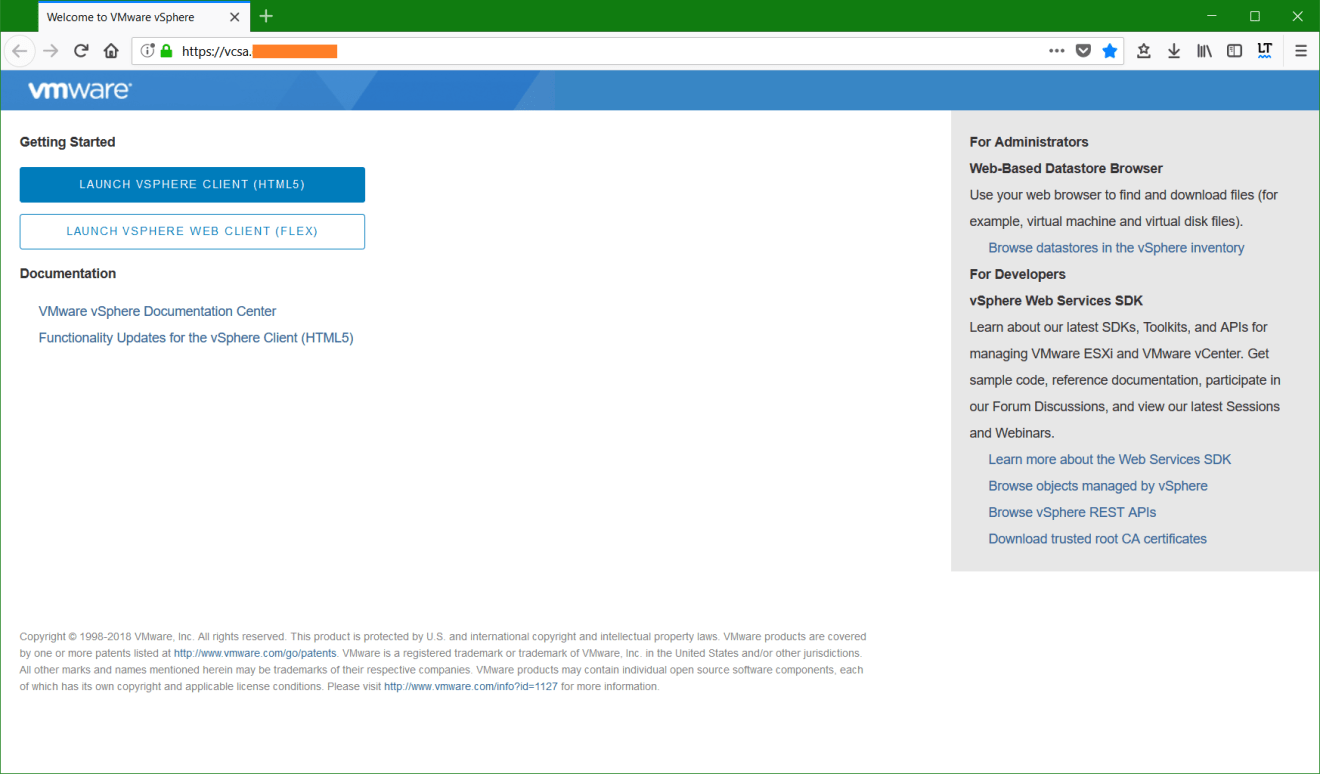 domalab.com vmware vcsa upgrade stage 2 web client