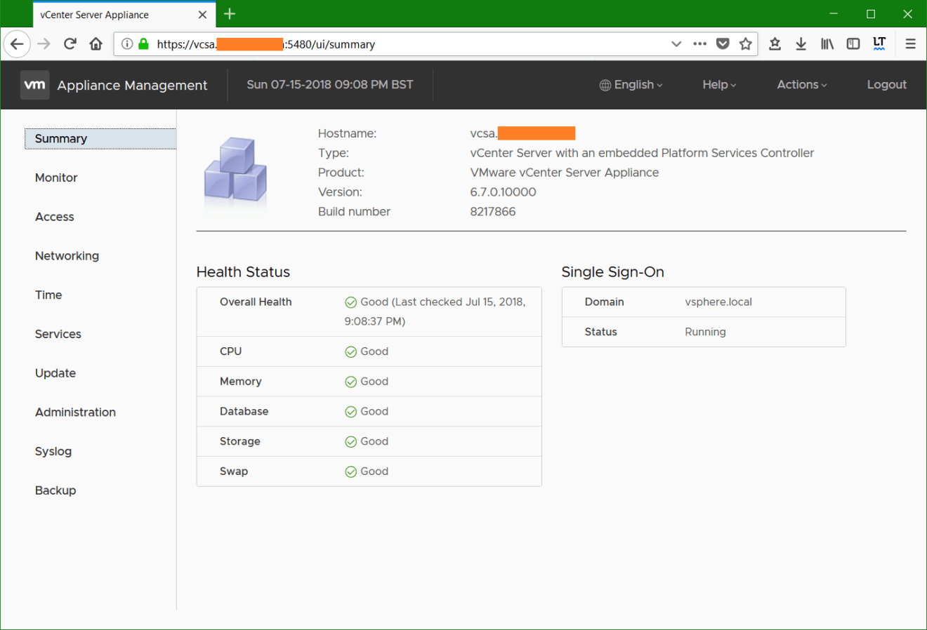 domalab.com vmware vcsa upgrade stage 2 management