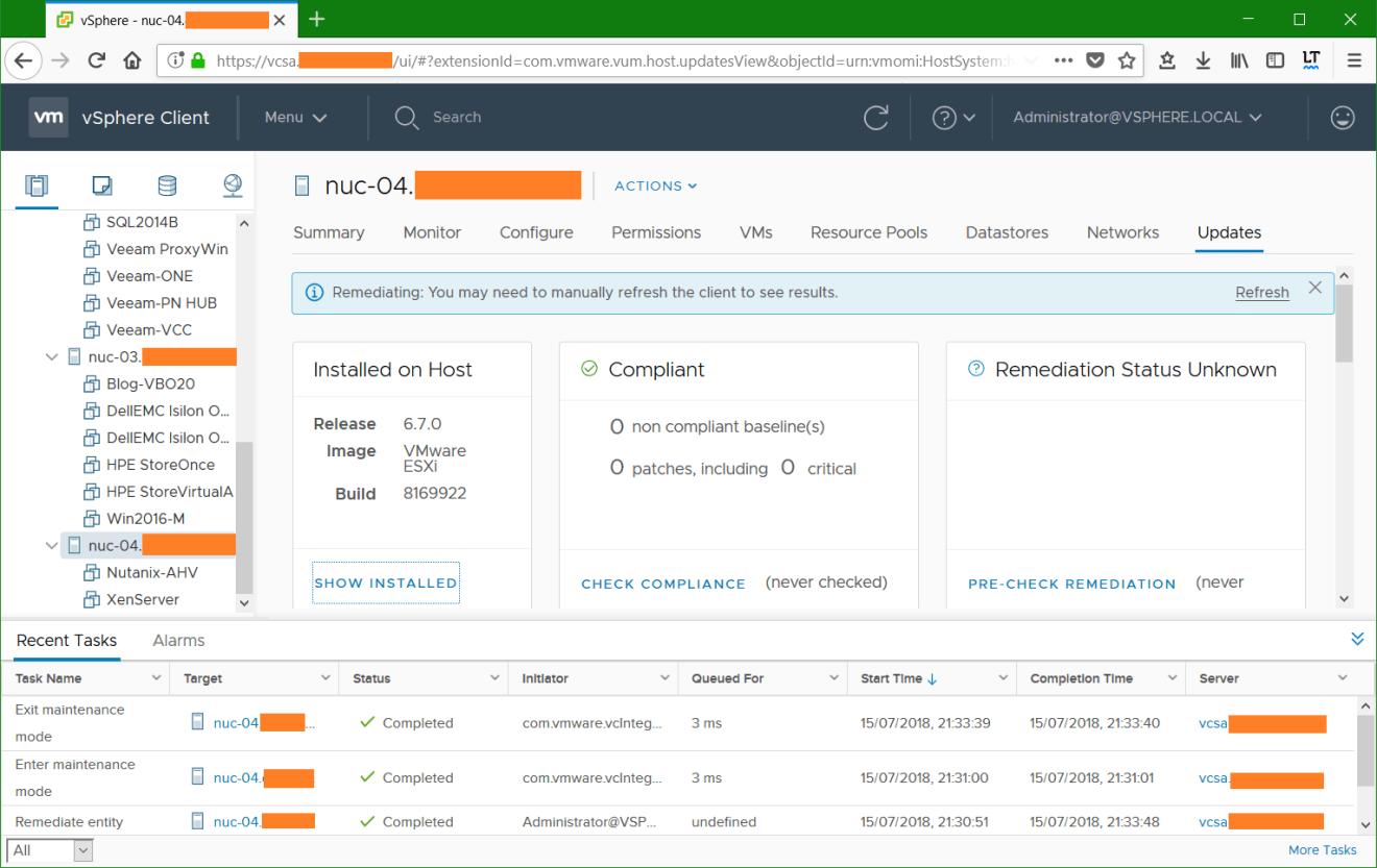 domalab.com VMware vSphere host remediation successful