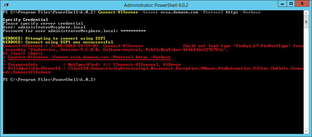 domalab.com Install VMware PowerCLI Connect-VIServer error
