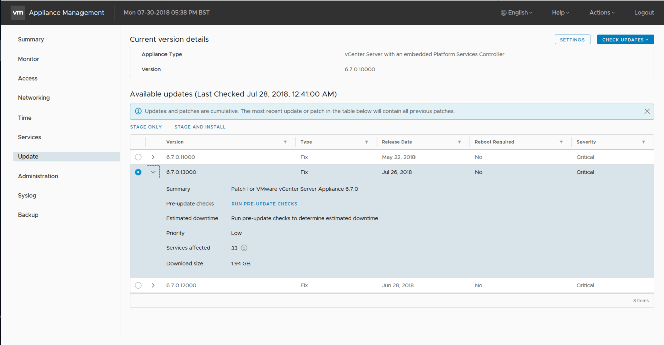 domalab.com Update VCSA appliance management