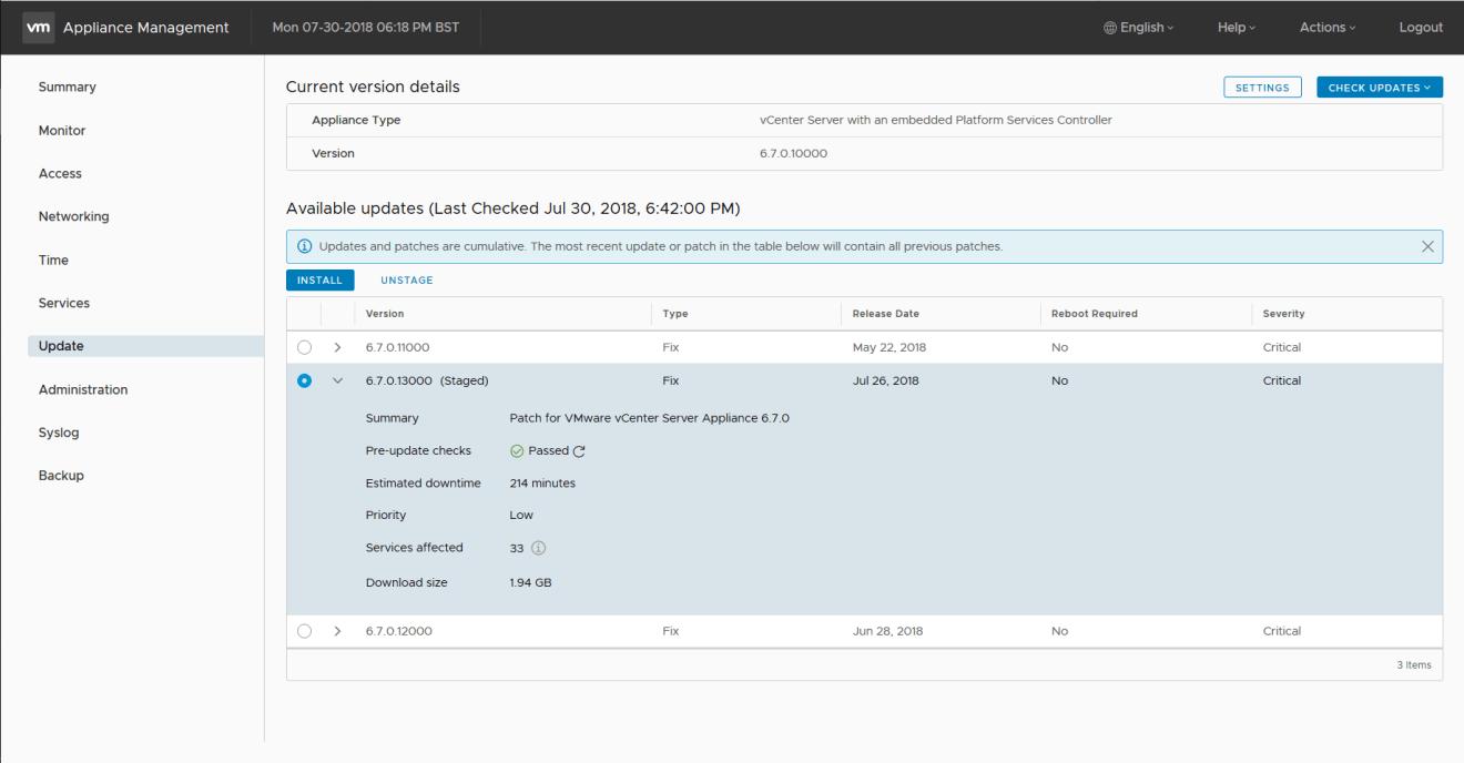 domalab.com Update VCSA pre-update checks