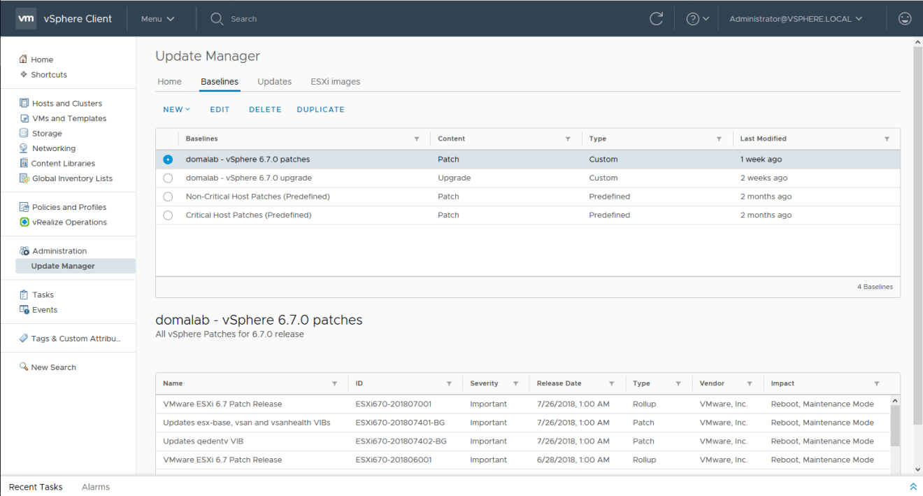 domalab.com install vSphere Patches baselines