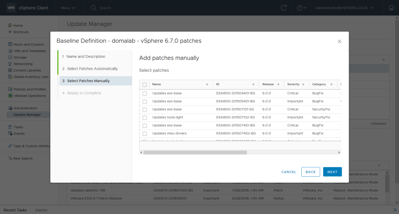 domalab.com install vSphere Patches manual selection