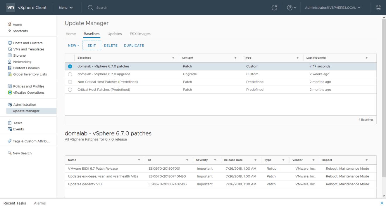 domalab.com install vSphere Patches edit baseline