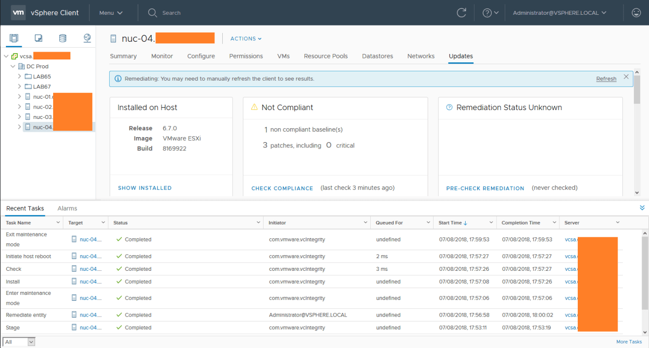 domalab.com install vSphere Patches baseline remediation