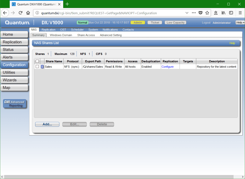 domalab.com Quantum DXi CIFS Nas Shares List