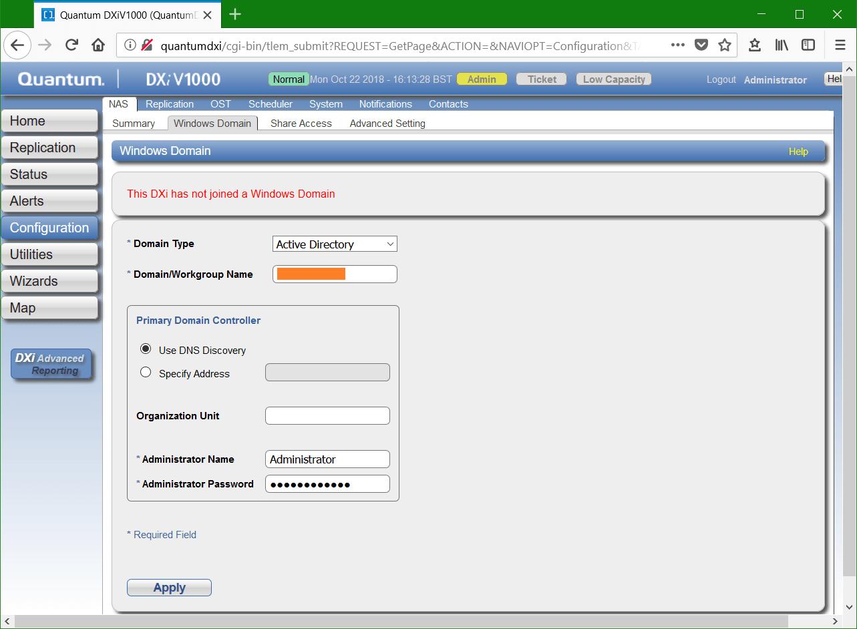 domalab.com Quantum DXi CIFS Windows Domain configuration