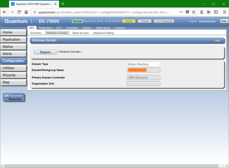 domalab.com Quantum DXi CIFS Windows domain join
