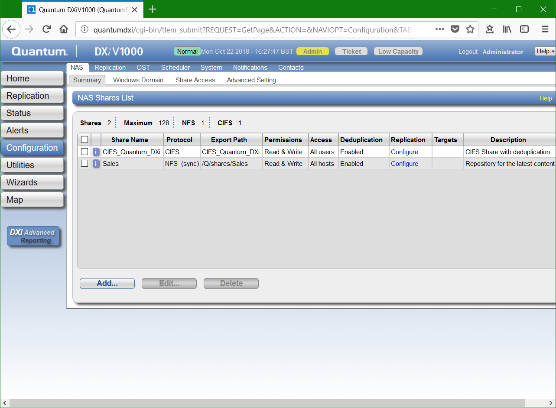 domalab.com Quantum DXi CIFS add NAS share list
