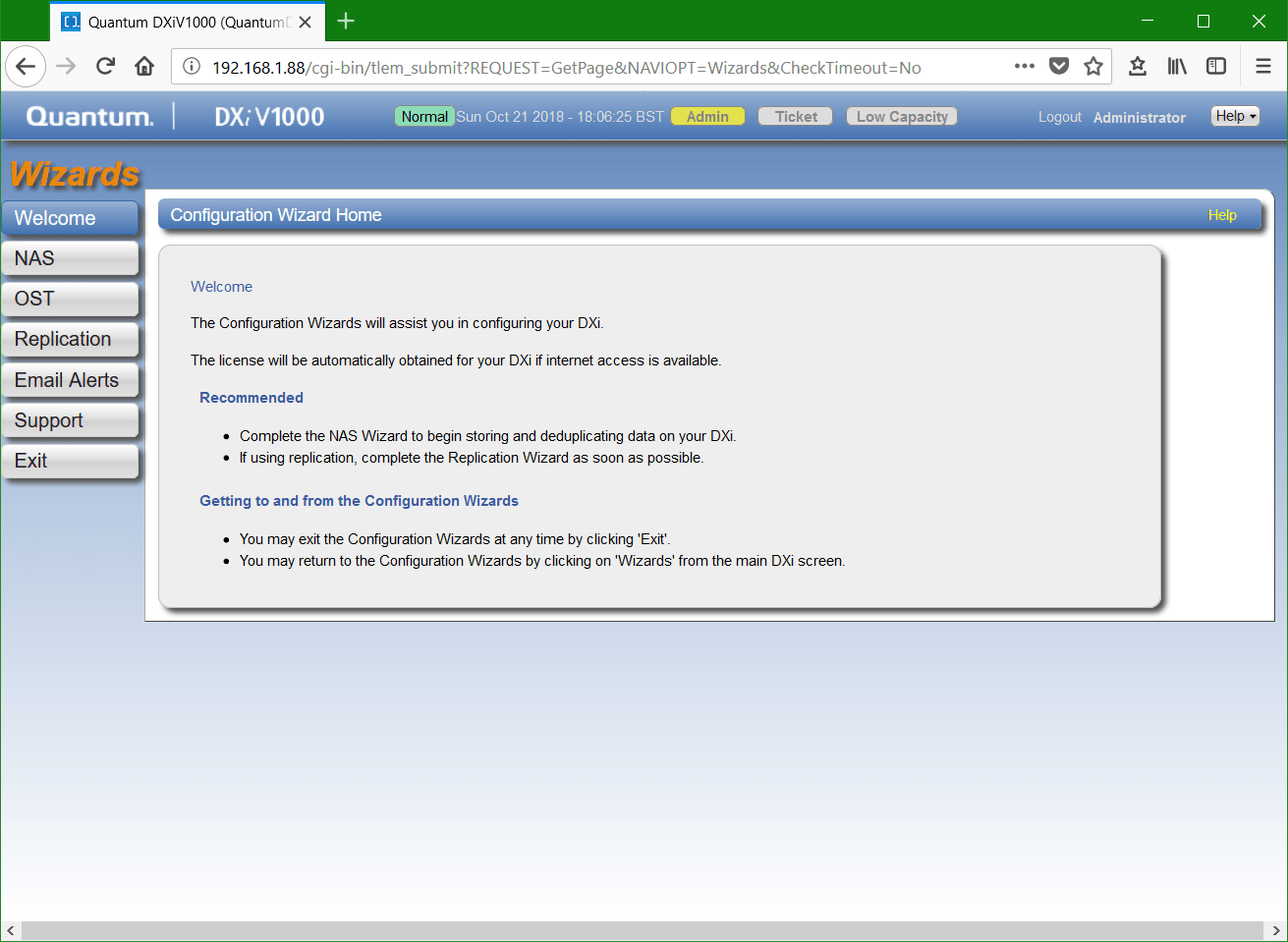 domalab.com Quantum DXi NFS configuration wizard