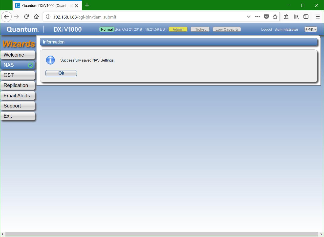 domalab.com Quantum DXi NFS wizard complete