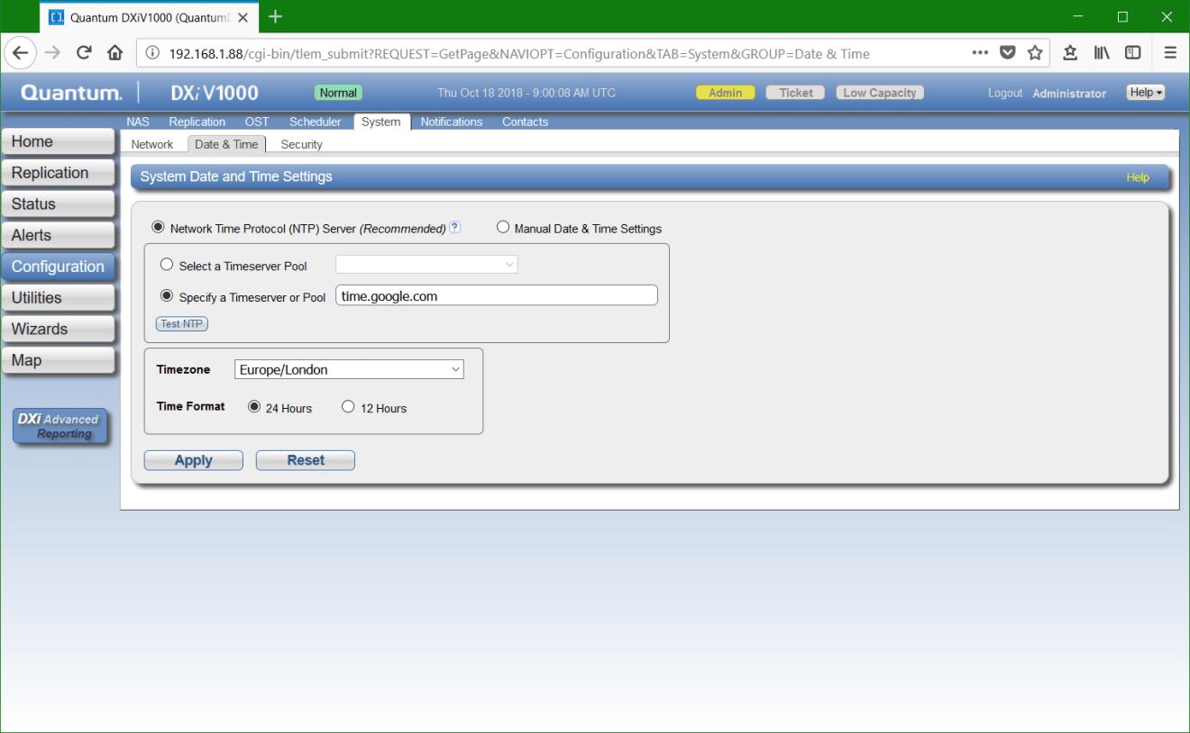 domalab.com Quantum DXi network ntp settings