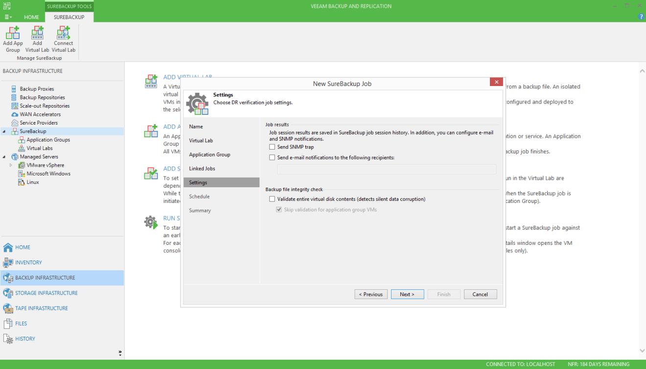 domalab.com Veeam SureBackup for Linux settings