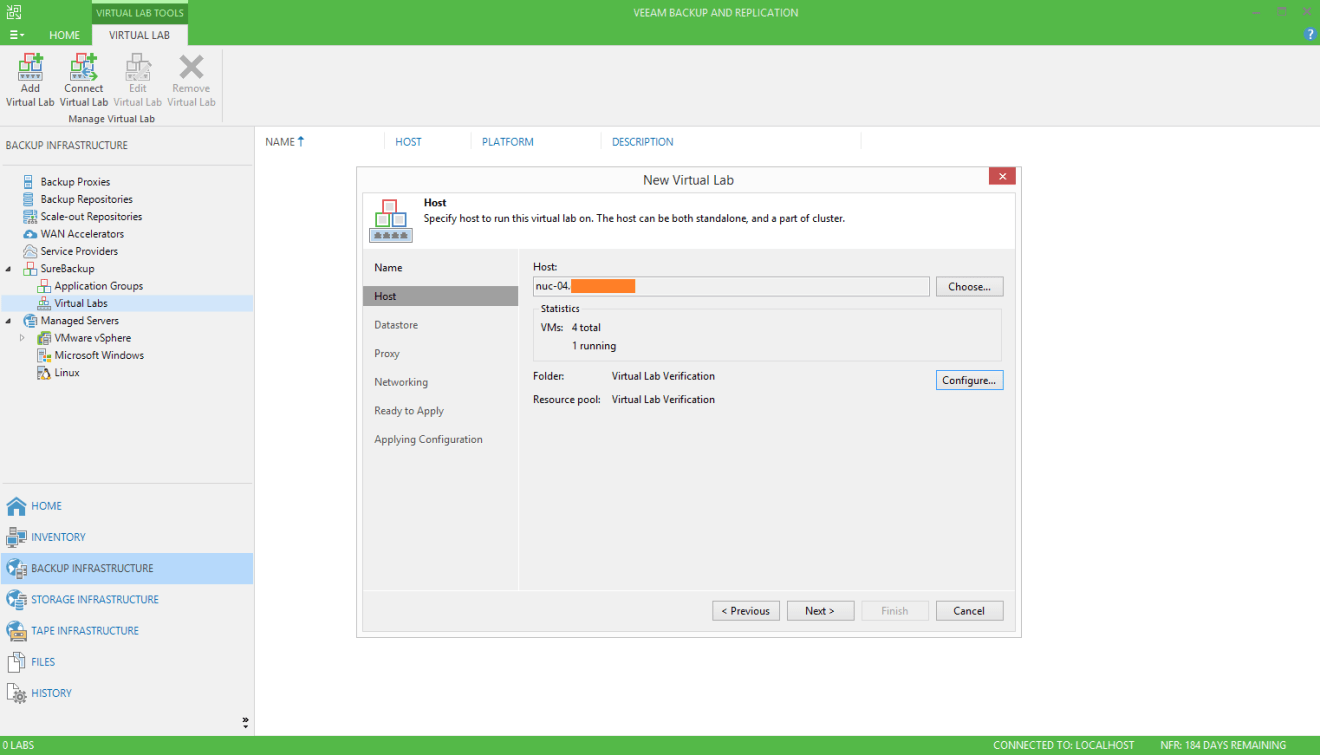 domalab.com Veeam SureBackup job virtual lab host