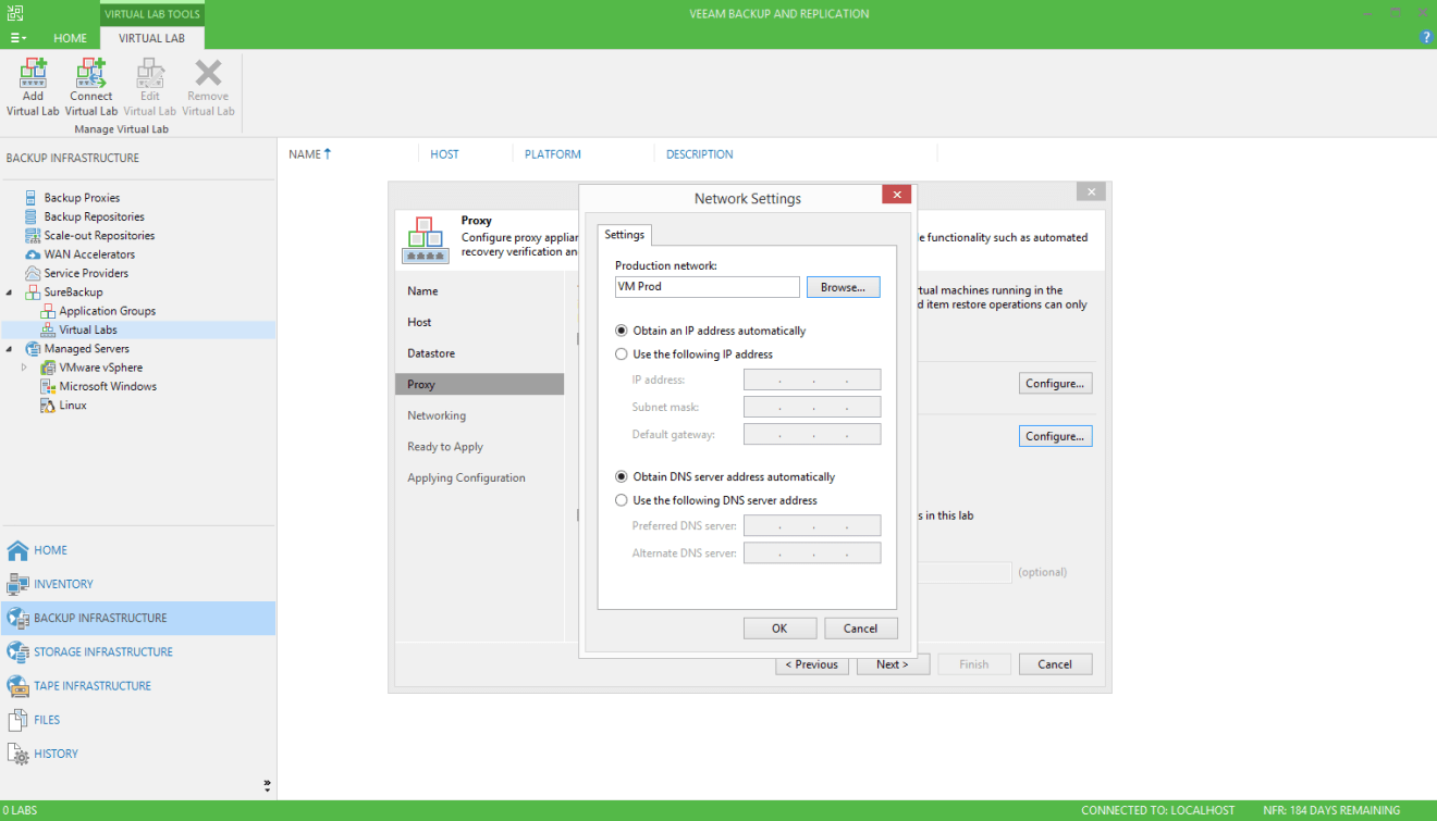 domalab.com Veeam SureBackup job virtual lab network