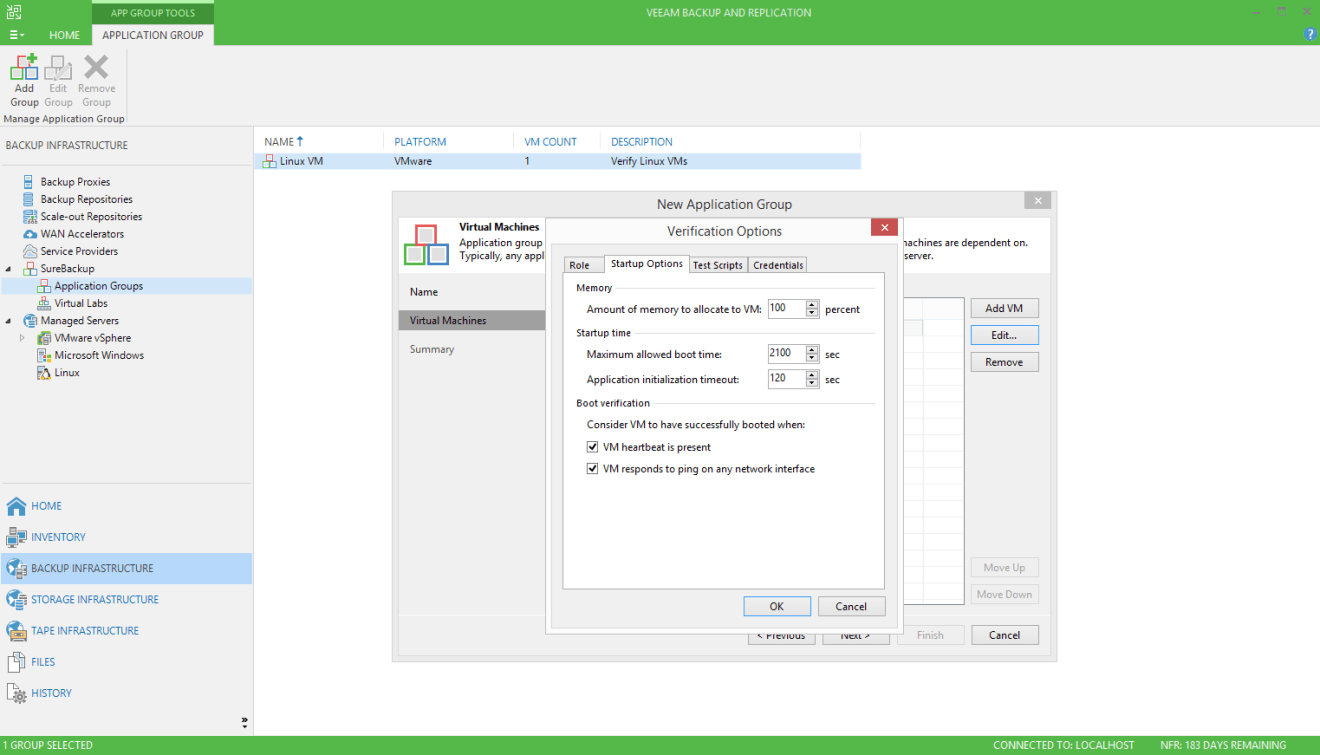 domalab.com Veeam SureBackup for Domain Controller startup options