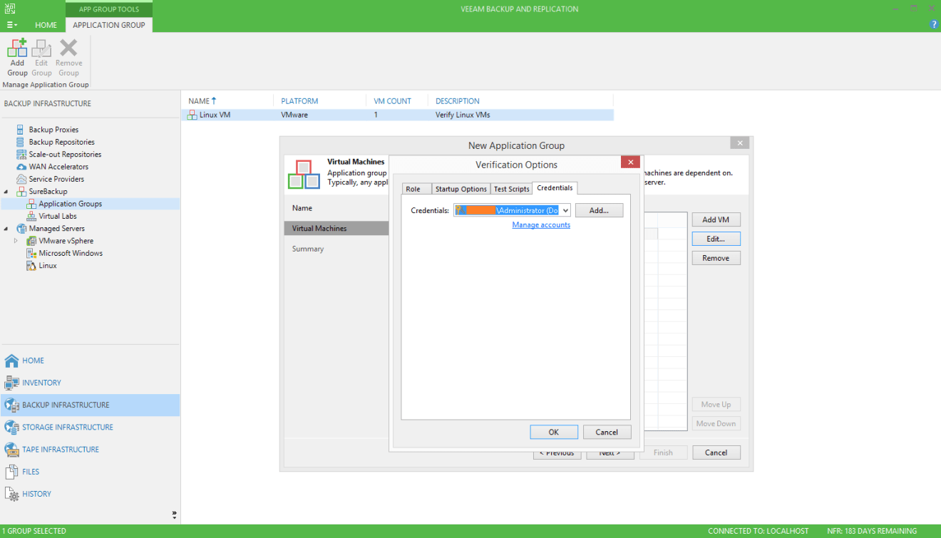 domalab.com Veeam SureBackup for Domain Controller credentials