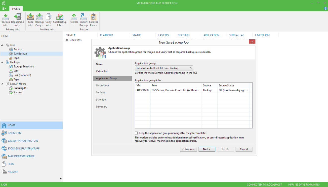 domalab.com Veeam SureBackup for Domain Controller application group selection