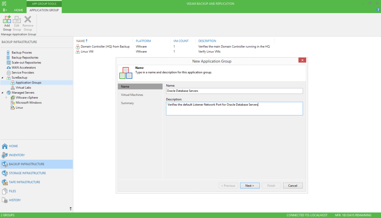 domalab.com Veeam custom SureBackup application group Oracle