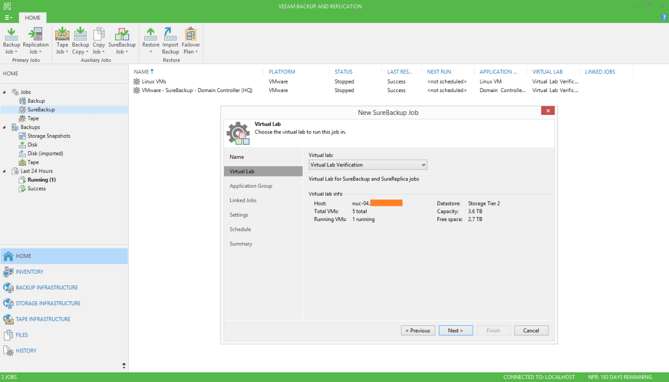 domalab.com Veeam custom SureBackup oracle virtual lab