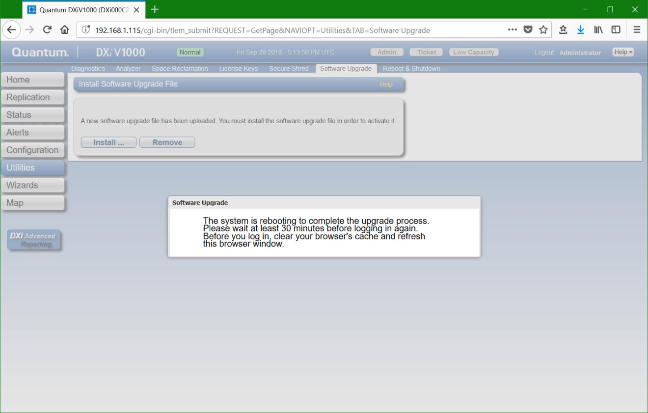 domalab.com update Quantum DXi system reboot