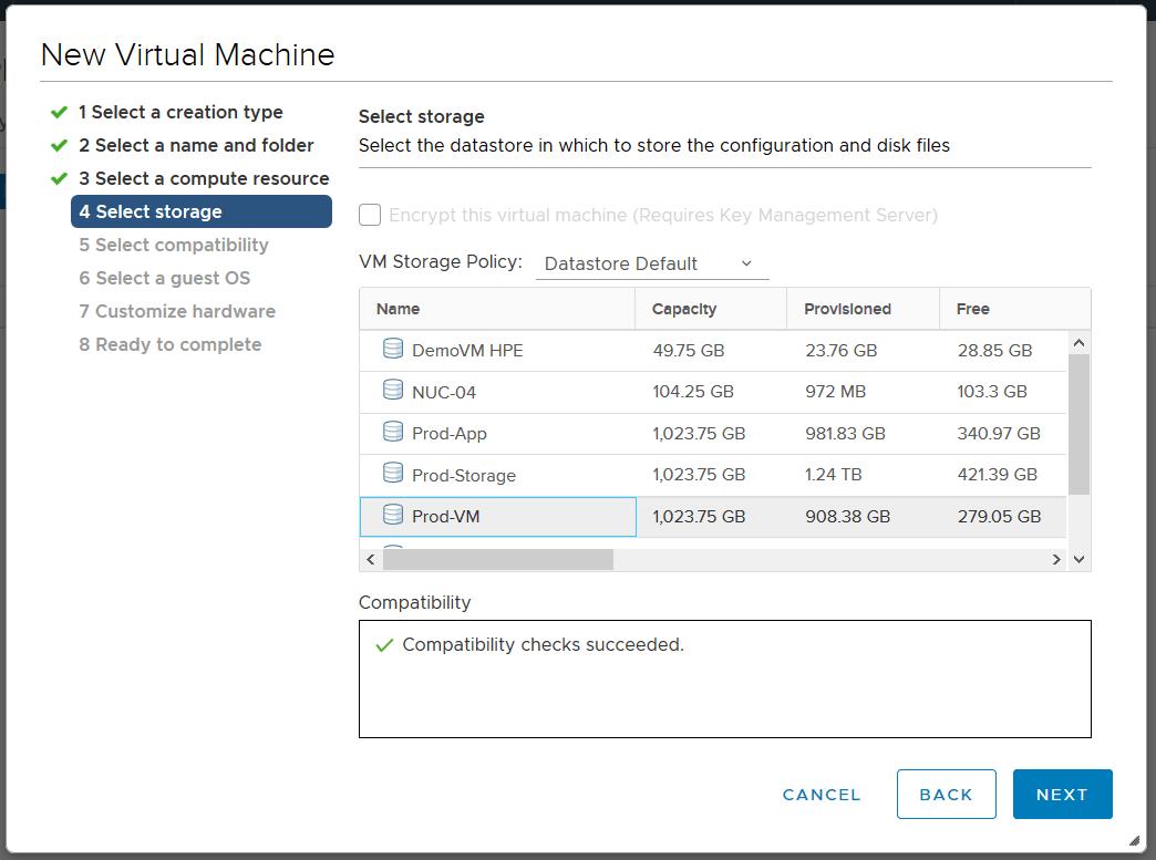 domalab.com Linux CentOS 7 install vmware select storage