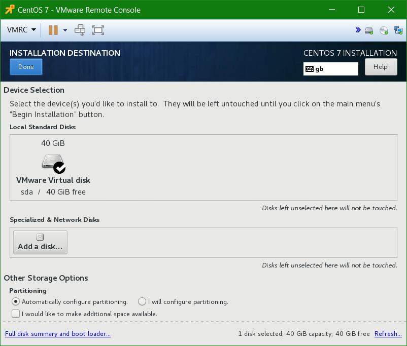 domalab.com Linux CentOS 7 install drive partition