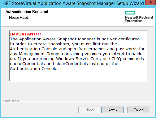 domalab.com HPE Application Snapshot Manager Authentication message