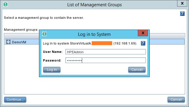domalab.com HPE StoreVirtual Backup login to system