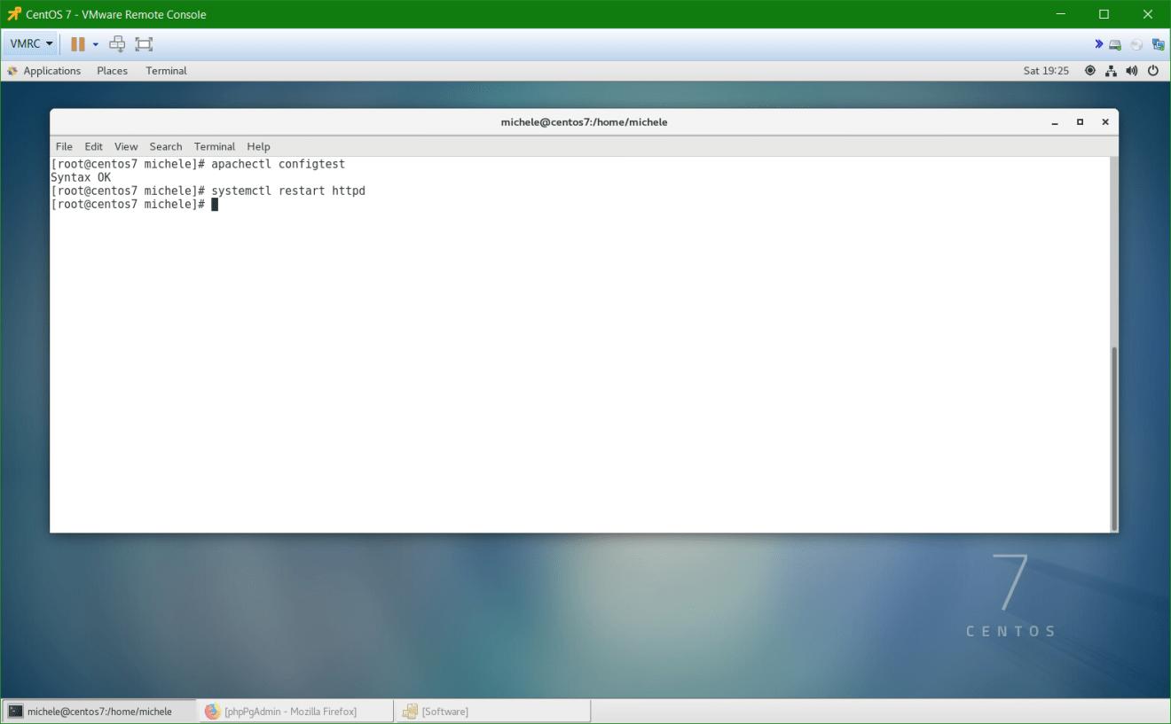 domalab.com install postgreSQL pgAdmin CentOS 7 apache restart