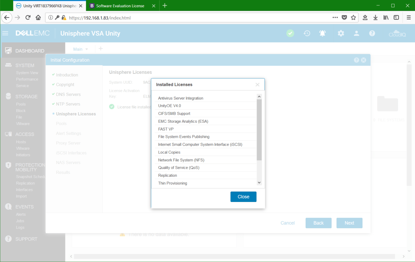 domalab.com Dell EMC Unity VSA installed license
