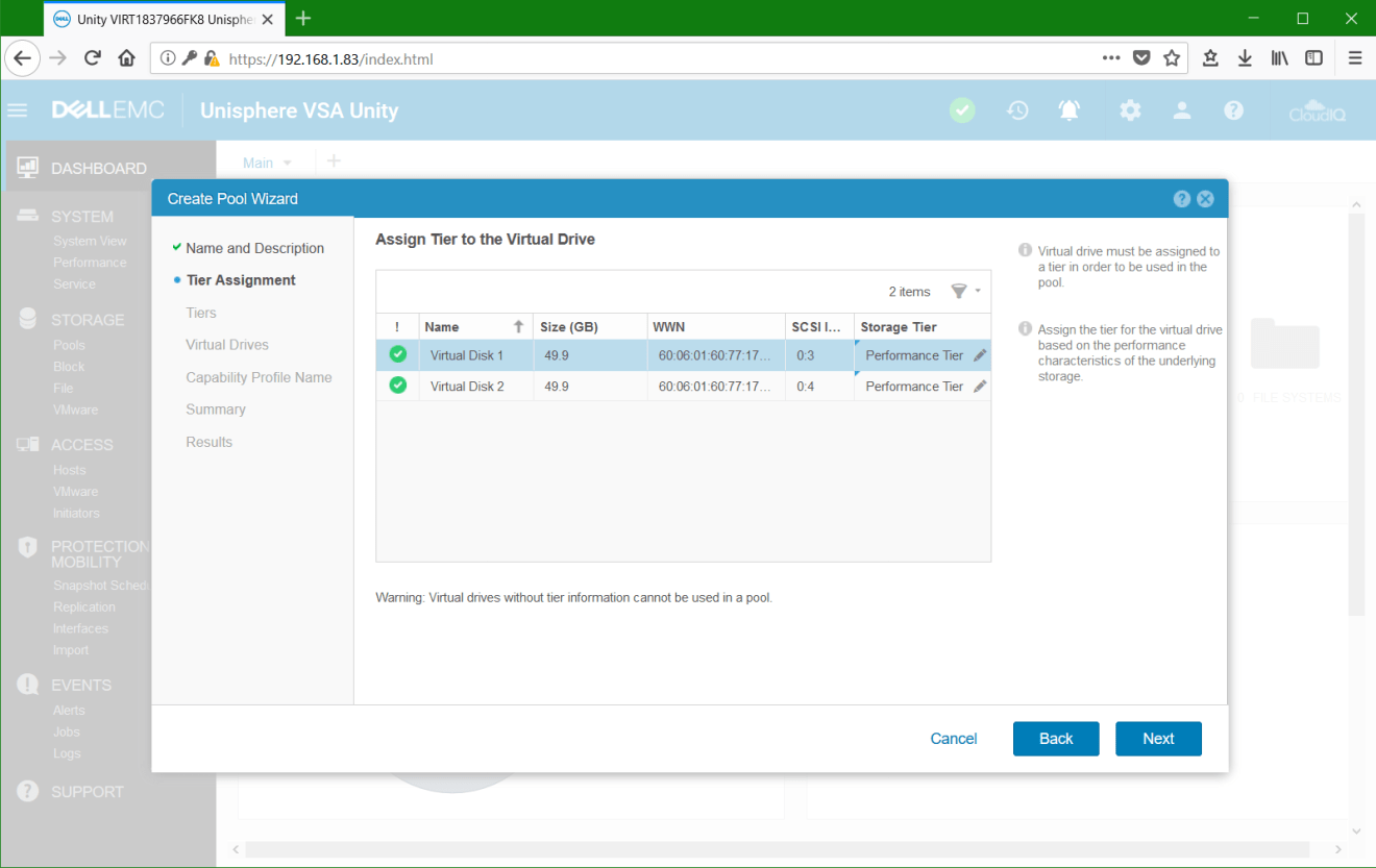 domalab.com Dell EMC Unity VSA tiers assignment