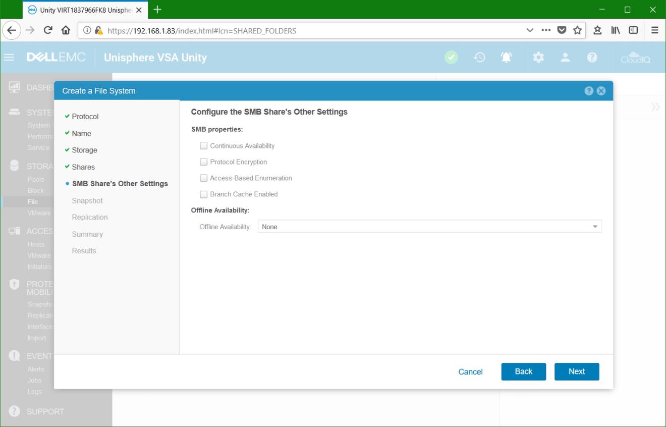 domalab.com Dell EMC Unity File System SMB Shares settings