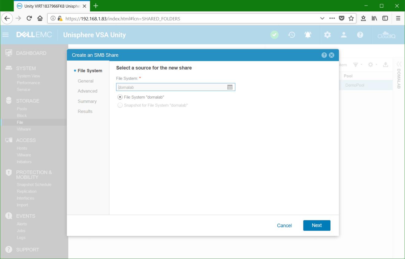 domalab.com Dell EMC Unity File System share