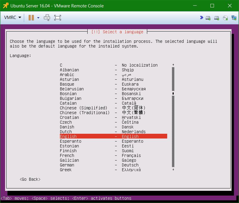 domalab.com Install Ubuntu Server VMware select language