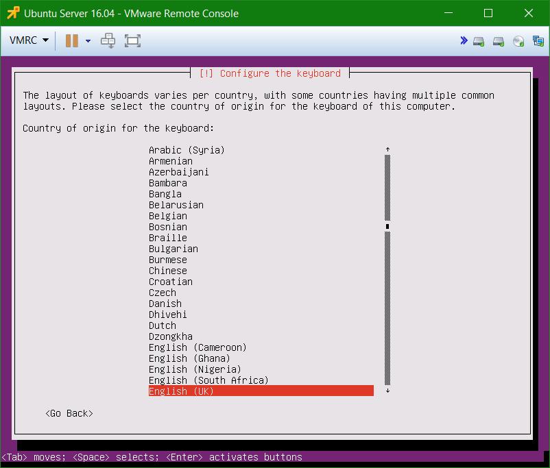 domalab.com Install Ubuntu Server VMware keyboard